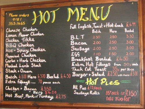 Tracey's Food Hall, Neston - Hot Menu