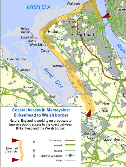 Coastal path map for Wirral to Welsh Border
