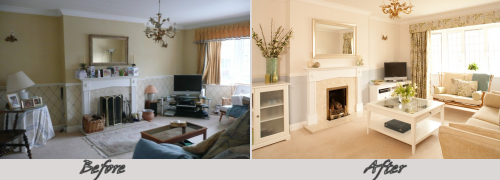 Cherry Blossom Interiors - Lounge before and after