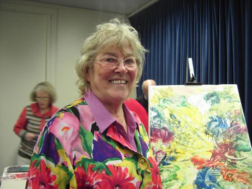 Pat Fairclough with her encoustic art demonstration