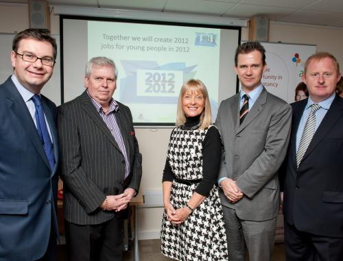 Left to right: Iain Aitken Stewart MP for Milton Keynes South, Alan Corkhill, Managing Director, Regal Litho, Di McEvoy-Robinson, Director, 3AAA, Mark Lancaster MP for Milton Keynes North and Peter Marples, Managing Director, 3AAA at the official opening of 3AAA's new jointAAP/NITP Academy at Bedford College in Milton Keynes